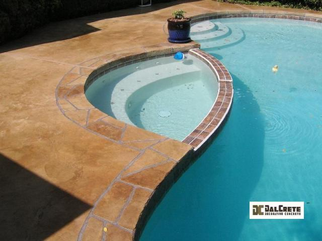 acid stained concrete pool deck